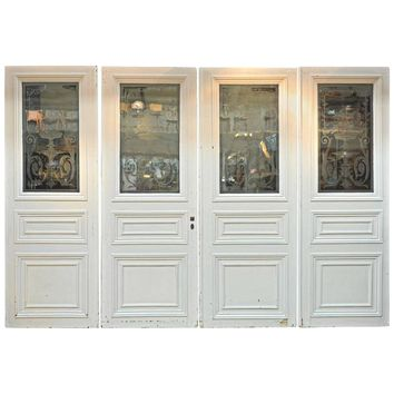 Set of Four French Art Nouveau Craved Glass Doors, circa 1900