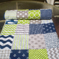 Nautical Baby quilt,navy blue,grey,lime green,Baby boy bedding,baby boy quilt,anchors,whales,toddler,waves,chevrons,patchwork,Anchors Aweigh