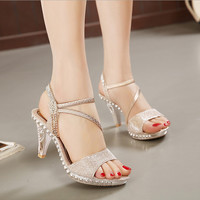 Diamond waterproof fish mouth high-heeled sandals