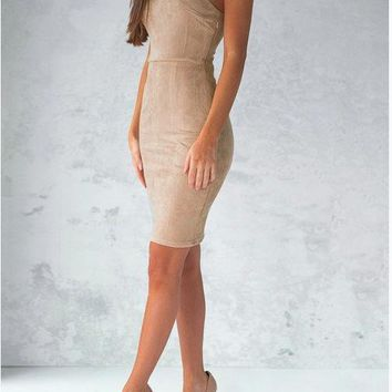 Khaki Strapless Sling Bust Tight Dress