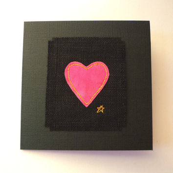 Pink heart card. Embroidered bright pink heart on black textured card. Handmade greetings card for someone special. Made in England.