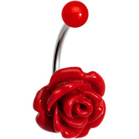 Red Beautiful Blooming Stone Rose J-Bar Belly Ring | Body Candy Body Jewelry
