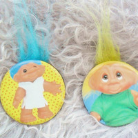 Vintage Retro 80s 90s Troll Doll Blue Yellow Hair Collectible Pin Badge