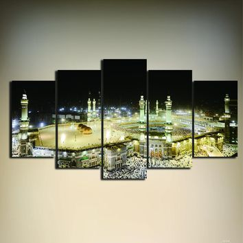 Mosque Painting On Canvas Unframed 5 Pieces Living Room Home Decor