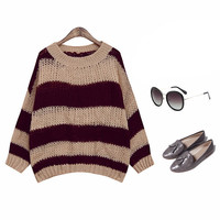 Women's Fashion Summer Korean Stylish Round-neck Pullover Hollow Out Knit Stripes Long Sleeve Tops [6319837508]