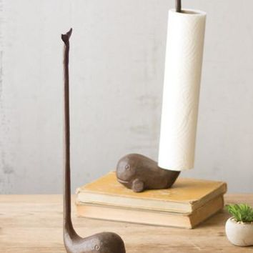 Cast Iron Whale Paper Towel Holder - Rustic