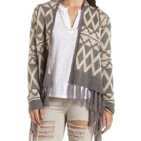 Tribal Print Cascade Cardigan with Fringe