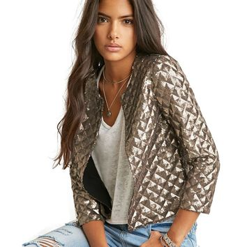 Women Gold or Coffee Sequins Blazer Jackets Three Quarter Sleeve Outwear Jacket