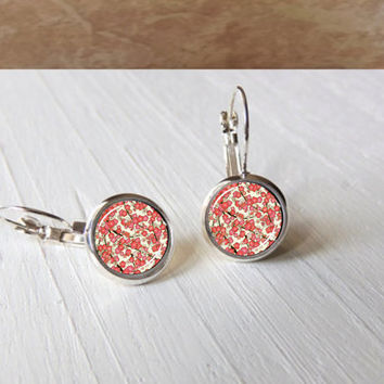 Cherry Blossoms Japanese Washi  Leverback Earrings Gift Pendant Setting