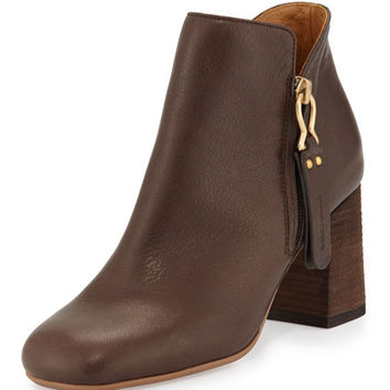 See by Chloe Jamie Side-Zip Ankle Boot, Dark Brown