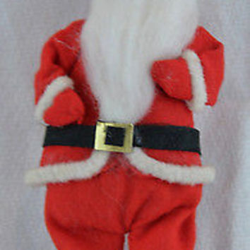 Vintage 1950's Santa Claus Pose-able Felt Christmas Ornament Made in Japan