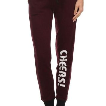 Women's Terry Lounge Joggers With Accent Cheers Print