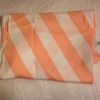 Long vintage peach pink and white striped scarf, original tags attached. Elkin Vally Apparel