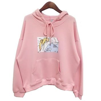 2017 new Pink/White Women Hoodies Japanese Sailor Moon Printed Pullover Girls Kawaii Cute Harajuku Sweatshirt Loose Full sleeve