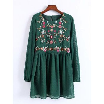 Embroidered Detail Mesh Sleeve Smock Dress Green