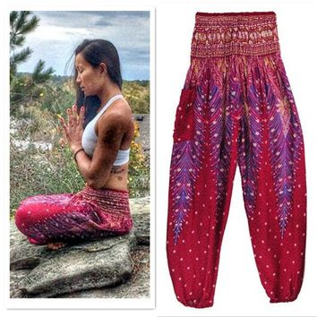3 Colors Thai Harem Trousers Peacock High Waist Yoga Pants