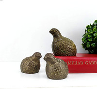 Vintage Brass Quail Bird Figurines Family Set of 3 Decor Home Accent Statuettes Desk Table Mantle Bookshelf Pheasants