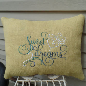 "Embroidered Yellow Burlap Pillow  "" Sweet Dreams""   14"" x 18"" Cottage style, decorative pillow"