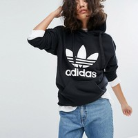 adidas Trefoil Pullover Hoodie In Black at asos.com