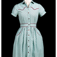 SAMPLE SALE Rockabilly gal dress green plaid