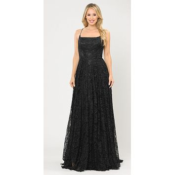 Lace-Up Back A-Line Metallic Lace Long Prom Dress Black
