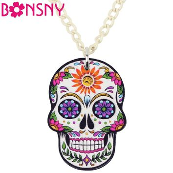Bonsny Acrylic Halloween Punk Skeleton Skull Necklace Pendant Fashion Jewelry Novelty Charms For Women Girls Ladies Accessories