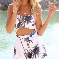 White Coconut Tree Print Open Belly Spaghetti Strap Romper Playsuit - Choies.com