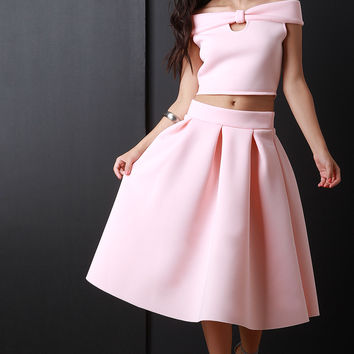 Neoprene Box Pleat Circle Skirt