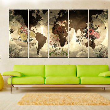 Large wall art rustic world map wall art canvas print, Map Canvas Print, extra large wall art canvas print, floral world map No:hr2