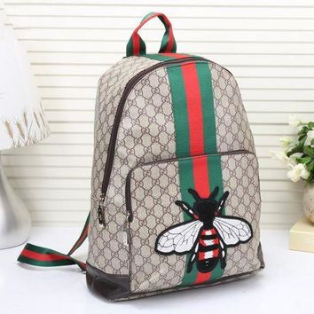 """""""Gucci"""" Unisex Trending Casual Fashion Classic Print Multicolor Stripe Bee Embroidery Backpack Large Capacity Travel Double Shoulder Bag G"""