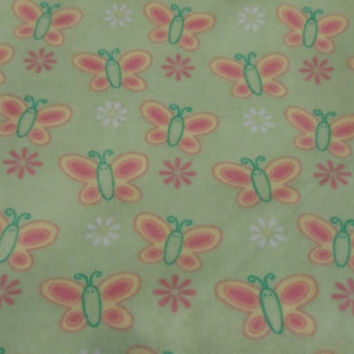 Butterfly Baby Blanket  Car Seat Cozy Daisy Butterfly Flannel Fabric
