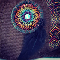 Heady Rainbow Dream Catcher Hat Pin with Opalite // Festival Hat Wear