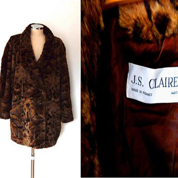 Brown leopard print faux fur coat / black / button up / retro / vintage / 1960s / lightweight / pockets / lined / warm slouchy winter coat