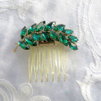 Vintage Rhinestone Hair Comb, Green Navette Stones, Holiday Hair Jewelry, Emerald Green Sparkle