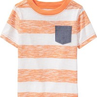 Old Navy Striped Chambray Pocket Tees For Baby