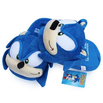Sonic the Hedgehog Women Men Cartoon Plush Home Slippers Fashion Winter Hose New