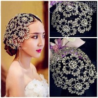 Vintage Silver Prom Pageant Round Crowns Rhinestone Flower Bridal Hair Jewelry Bridal Headpiece Tiara Wedding Hair Accessories