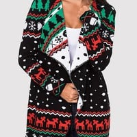Black Christmas Floral Turndown Collar Long Sleeve Oversize Cardigan Sweater