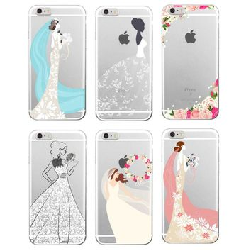 Wedding Bride Lace Dress Rose Soft TPU Phone Case Cover Coque Funda For iPhone 7 7Plus 6 6S 6Plus 5 5S SE 5C 4 4S Samsung Galaxy