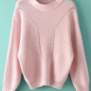 Pink Knit Long Sleeve Sweater