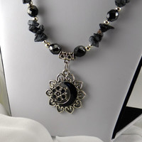 Black Snowflake Obsidian Necklace with Metal Crescent Moon Pendant
