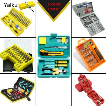 Yalku Hand Power Tool Set Household Combination Tool Set Box Multitool Tool Bag Accessories Toolkit Screwdriver Plier Knife