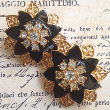 Vintage Large Rhinestone Floral Earrings, Gold Tone Stud Earrings With Black Enamel