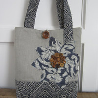 Womens Blue Shoulder Tote Bag, Grey Handbag, Blue Handmade Fabric Bag, Travel Tote Bag, Womens Handbag, Large Tote, Grey Tote, Applique Tote