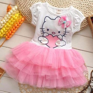 Toddler Girls Summer Hello Kitty tutu Princess Dresses Cotton Mesh Baby Girl Cartoon Party Dress Children's Costume Kid Clothing