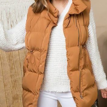 Down For Adventure Sleeveless Quilted Padded Vest Outerwear - 2 Colors Available