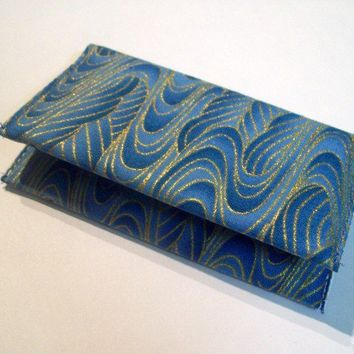Business Card Holder - Blue and Gold Asian Swirls