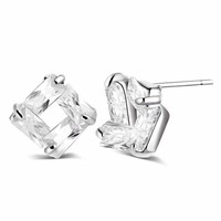 CLEARANCE - Diamond Effect Austrian Crystal Square Stud Earrings