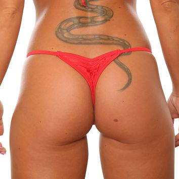 Low Rise Red Scrunch Thong-Stripper Clothes