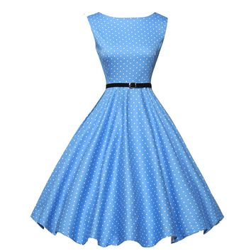 2018 Summer Style Retro 50's Big Swing Audrey Hepburn Polka Dot Plus Size Dress